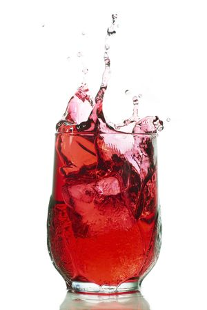 splash of red liquid could be cranberry juice, grape juice