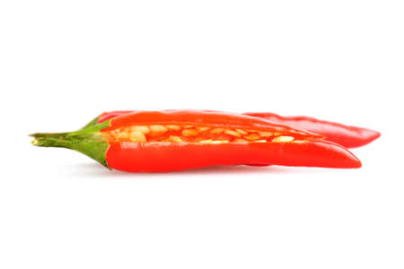 classed: Bird eye chillies, classed as very hot chillies perfect for classic Thai cooking. Stock Photo