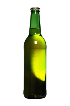 unopened: unopened beer bottle, with light shining through Stock Photo