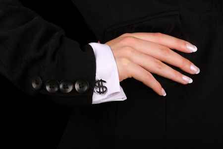 cufflinks: business woman with dollar sign cufflinks