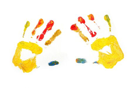 not painted: painted hand prints with texture of canvas showing through, not completely isolated