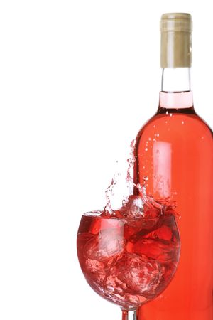fruity rose wine and ice