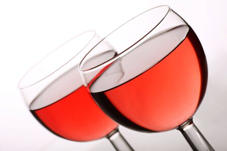 two glasses of rose wine ready to drink photo