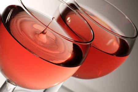 two glasses of rose wine with droplet Stock Photo
