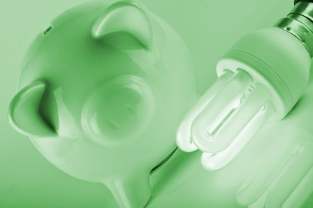 piggybank with energy savings compact fluorescent lightbulb