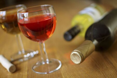 bottles and glasses of wine Stock Photo - 3838181