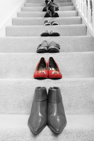 several: pairs of shoes with selective coloring applied