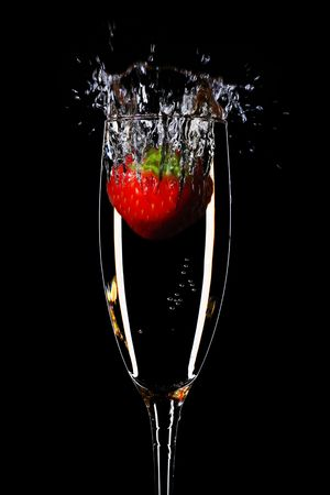 champagne flutes: strawberry splash in a champagne flute