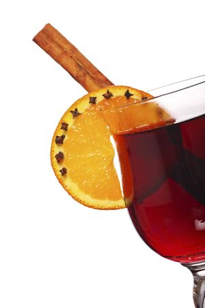 punch spice: mulled wine with cinnamon stick ,orange and spices