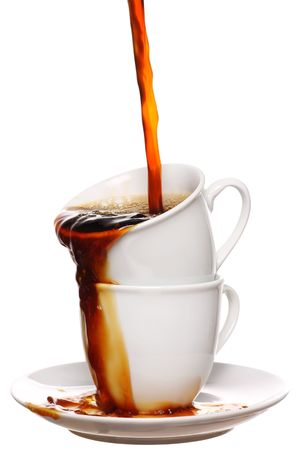 two cups of fresh steaming hot coffee photo