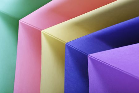 notelet: sheets of coloured notelet cards Stock Photo