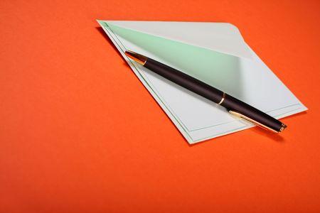 notelet: pastel green envelope,letter and pen