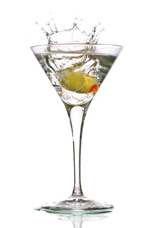 martini with olives and a splash Stock Photo