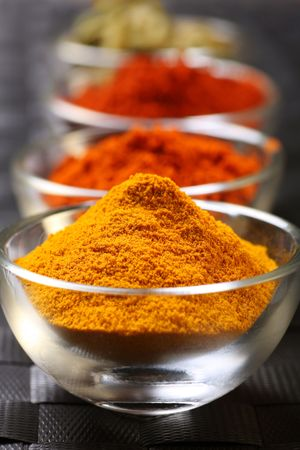 a mixture of spices, turmeric, chilli and cayenne powder