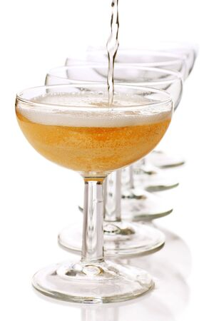 coupe: champagne coupe glasses in a row Stock Photo