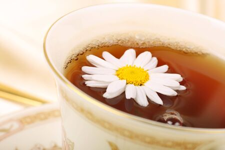 alternative living: chamomile tea with flower for decoration Stock Photo