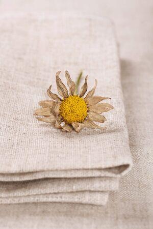 wilting: servilleta de lino y mantel con el marchitamiento margarita