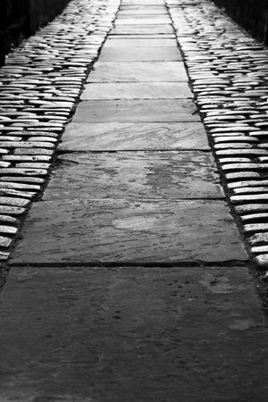 victorian passage way down an old street in Hull,  uk. photo