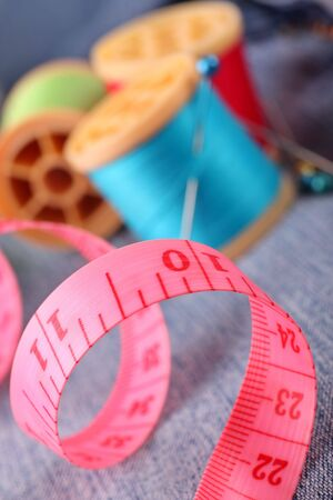 centimetres: sewing tools of a seamstress Stock Photo