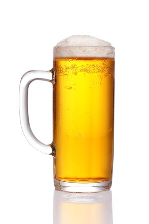 half full: pint of beer served in a stein glass.
