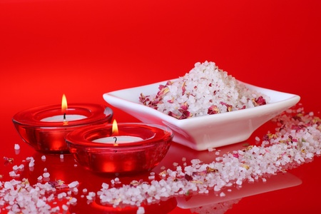 bath salts: scented bath salts and candles for a bit of pampering