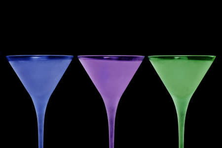 three colorful frosted cocktail glasses, with space for text Stock Photo - 10966326