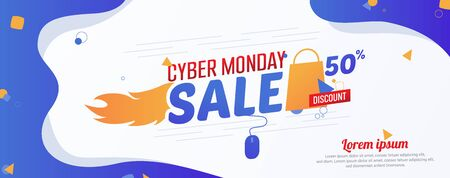 Cyber Monday 50% Sale Advertising Banner Vector Template