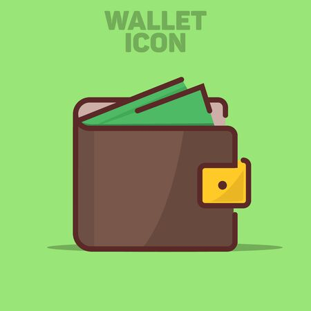 Isolated Wallet Icon Vector Illustration Green Background  イラスト・ベクター素材