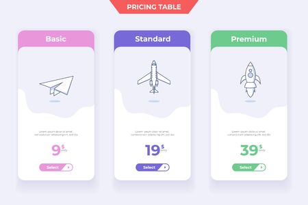 3 Plan Pricing Table Template Design Illustration