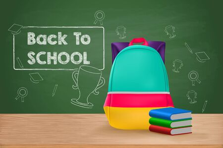Back to School, School Bag and Books on Wooden Table Illustration