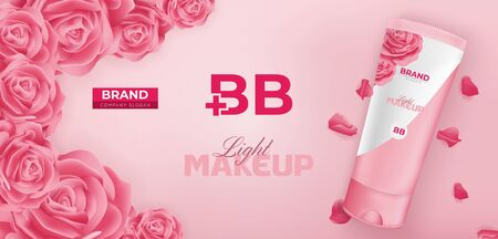 BB Beauty Cream Cosmetic Ad Vector Banner Template Design Illustration
