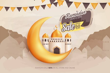 Ramadan Kareem Sale upto 50% Vector Banner ad design