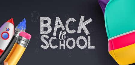 Back to School Vector Banner Design Illustration Background
