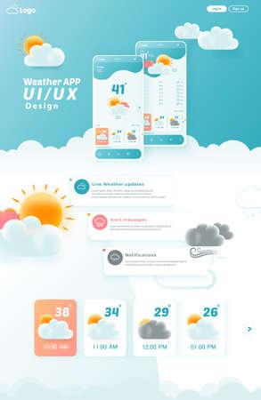 Weather App UI/UX Kit Elements, Website Landing Page Vector Illustration