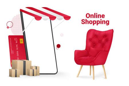 Online Shopping Store and Mobile Mockup Template Vector Illustration Illustration