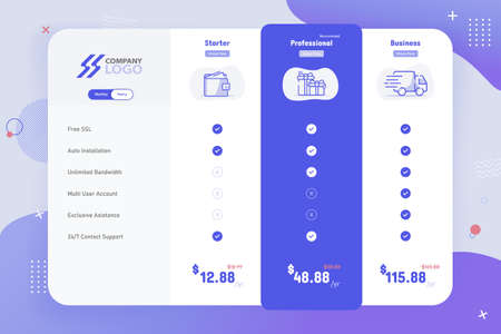New Modern 3 Plan Pricing Table Template Design Illustration