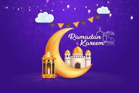 Ramadan Kareem Greetings, Moon, Mosque, Vector Background Illustration