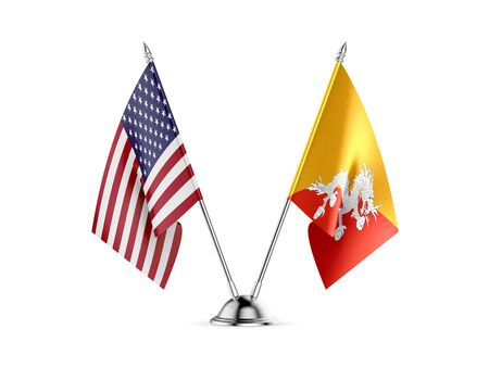 Desk flags, United States  America  and Bhutan, isolated on white background. 3d image