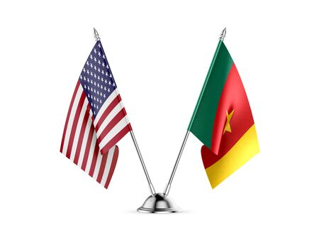 Desk flags, United States  America  and Cameroon, isolated on white background. 3d image Zdjęcie Seryjne