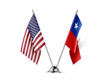 Desk flags, United States  America  and Chile, isolated on white background. 3d image