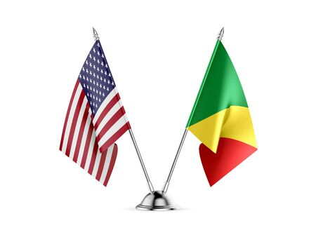 Desk flags, United States  America  and Congo-Brazzaville, isolated on white background. 3d image