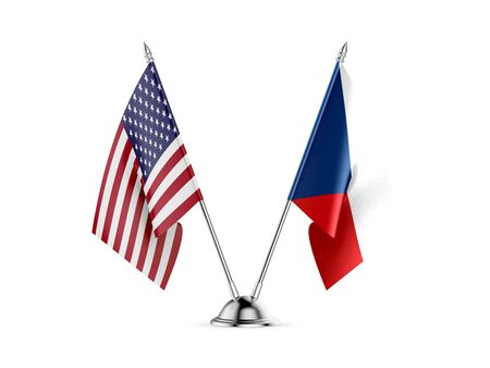 Desk flags, United States  America  and Czech Republic, isolated on white background. 3d image