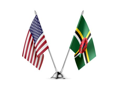 Desk flags, United States  America  and Dominica, isolated on white background. 3d image