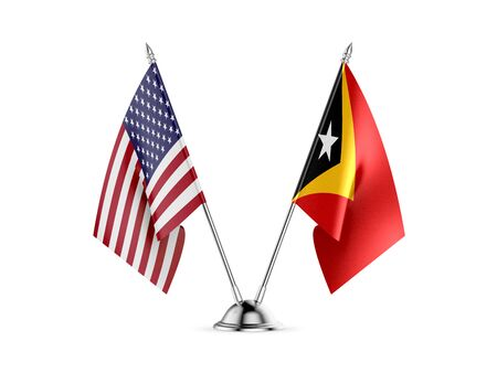 Desk flags, United States  America  and East Timor, isolated on white background. 3d image-Recovered 写真素材