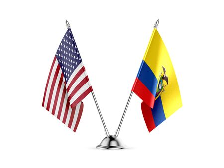 Desk flags, United States  America  and Ecuador, isolated on white background. 3d image