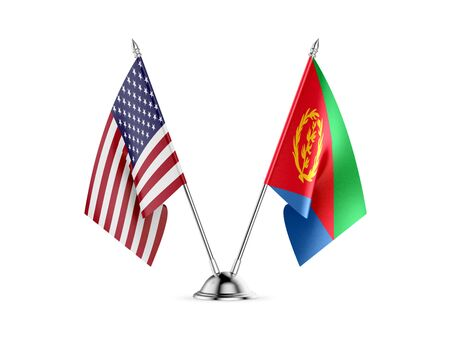 Desk flags, United States  America  and Eritrea, isolated on white background. 3d image