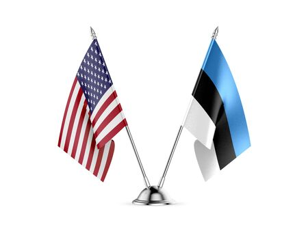 Desk flags, United States  America  and Estonia, isolated on white background. 3d image