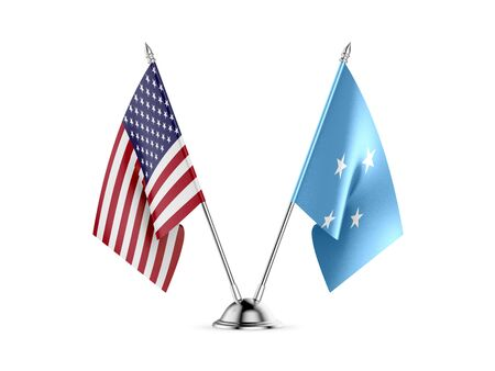 Desk flags, United States  America  and Federated States of Micronesia, isolated on white background. 3d image