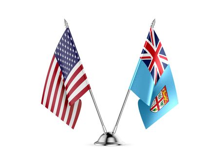 Desk flags, United States  America  and Fiji, isolated on white background. 3d image 写真素材