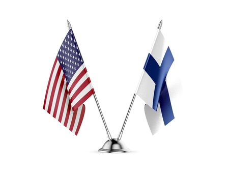 Desk flags, United States  America  and Finland, isolated on white background. 3d image